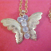 Stunning Diamante & Gilt Gold Butterfly Pendant & Chain Necklace
