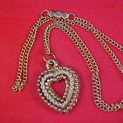 Simulated Tiny Seed Pearl Gold Plate HEART Pendant & Chain Necklace