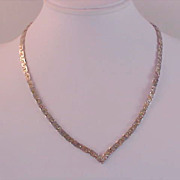 """SALE Nugget Style Gold &  SILVER PLATE ~  """"V"""" Necklace"""