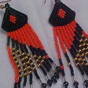 SALE NATIVE AMERICAN Hand Made Glass Bead (Orange & Black) Dangle Wire Earrings