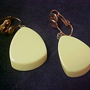 SALE 1950's Yellow Lucite Dangle Clip Earrings
