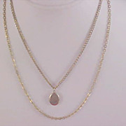 SALE 1940's Engravable  Locket Gold Plate and Double Chains - Two Strands