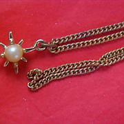 SALE Simulated Pearl Gold Plate Star Designed Pendant & Chain