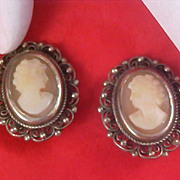 SALE VICTORIAN Style CAMEO Silver Plate Intricate Workmanship Clip Earrings