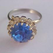 SALE Diamante~  Blue Sapphire Dog Tooth Prong Set Rhinestone Ring - Sz 6 1/2