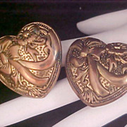 SALE Hearts - Flowers & Bows & Ribbons Brass Clip Earrings