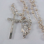 SALE Silver Plate 1930's ROSARY - Trademark ITALY - Dainty & Delicate Workmanship