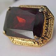 SALE ~Massive TOPAZ  Art Glass Stone Bezel Set in Gold Plate Brooch
