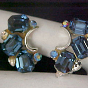 SALE LISNER ~ Blue Sapphire Rhinestones ~ Silver rhodium Plated Clip Earrings