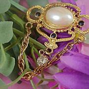 SALE Victorian Style Simulated Pearl~Diamante & Black Cabochon Dangle Brooch