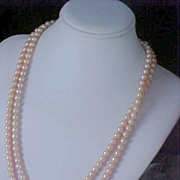 SALE BRIDAL ~ Opera Length 1940's ~ BLUSH PINK  Simulated Pearl Necklace