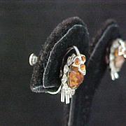 SALE Incredible TURTLE Citrine Rhinestone & Diamante Screw Back Earrings