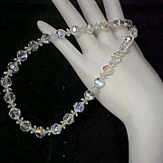 SALE FREE Shipping ~ 1940's Gorgeous Genuine Round Faceted & Bi-cone Crystal Choker/Necklace
