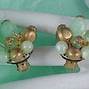 Moonglow~Crackled~Gilt Gold WESTERN GERMANY Clip Earrings