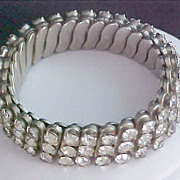 SALE Diamante Signed Three Row Expandable Bracelet