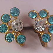 SALE 1930's Aquamarine & Diamante Half Moon Screw Back Earring