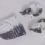 SALE JEFF LIEB Designer~Brooch & Convertible Earrings~Demi Parure