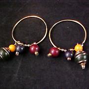 SALE Charming HOOPS an Dangling Beads Earrings for Pierced