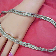 SALE 53.1 Gr.~  Triple BRAID Silver Plated Necklace