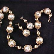 SALE Massive Imitation  Glass Pearls & Filigree Gilt  Gold Caps ~ Gold Plate Bead Demi ~ Neckl