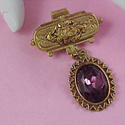 SALE VICTORIAN Style Amethyst Faceted Rhinestone Gold Plate Dangle Brooch