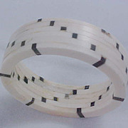 SALE 1930's CELLULOID CHECKERBOARD Black  & White 85.1 grams  Bangle Bracelet
