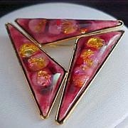 SALE Gold FLUSS Stones Under Rose Hard ENAMEL Brooch ~ Gold Plate