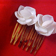 SALE White Celluloid Clam Shells Hair Ornament~Comb