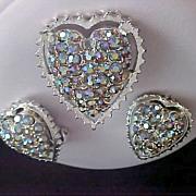 SALE Aurora Borealis HEARTS ~ Brooch & Clip Earring Suite