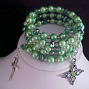SALE ARTISAN JERUSALEM Cross ~ Mint Green Sim Glass Pearls~Emerald Glass  Beads WRAP  Bracelet