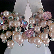 SALE Pink Crystals & Simulated Ice Pink Pearls  Dangle Clip Earrings
