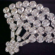 SALE VICTORIAN Style Diamante Round & Baguette Cut Silver Plate Brooch