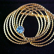 SALE AQUAMARINE Rhinestone ~ Spiral  Gold Plate Brooch