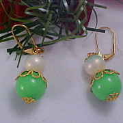 SALE Simulated Pearl & Lime Green Bead ~ Filigree Cap Lever Back Gold Plate Earrings