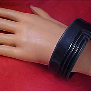 Old 1950's  Jet Black Plastic Bangle Bracelet