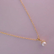 SALE 1950's Diamante & Simulated Pearl Pendant & chain