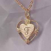 "Elegant Gold Plate Initial ""F"" Intricate Pendant & Chain"