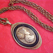 SALE VICTORIAN Style BRASS & Black CAMEO Medallion & Chain Necklace