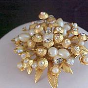 SALE Lavish Diamante, Simulated Pearls & Gilt Gold Leaves Brooch