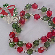 SOLD Red & Green Crystal Beads~Christmas Bells Two Strand Bracelet