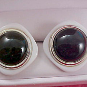 SALE 1950'S EBONY & WHITE Square & Black Cabochon Post Earrings