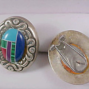 SALE NATIVE AMERICAN Style ~Inlay Turquoise Post (w/clips) Earrings