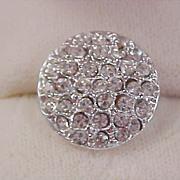 1930's Pave` Diamante` Silver Plate Intricate Button