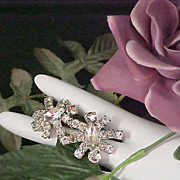 SALE ART DECO Diamante` Silver Plate Clip Earrings
