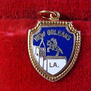 SALE New Orleans Louisiana Cobalt & Gold Plate Charm