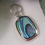 SALE Genuine  ABALONE Pearl CHARM ~  Set in Silver Plate