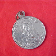 SALE $2 Ship ~ Sacred Heart of JESUS & Lady of Mt. Carmel Silver Tone Medal