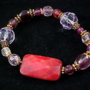 SALE ARTISAN ~ Lavish Crystal & Faceted Carnelian Agate Expandable Bracelet
