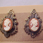 SALE Victorian Style Cameo Post Earrings