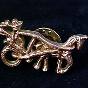 SALE EQUESTRIAN  Gold Plate Tac pin Horse Driven Pin